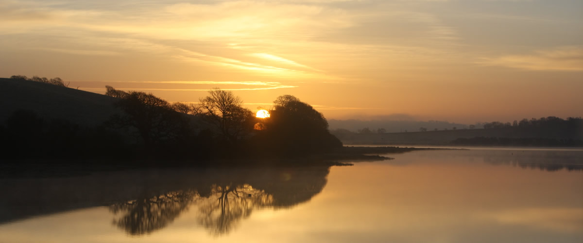 Sunset over the river at St Germans, credit Mary-Ella Kyte
